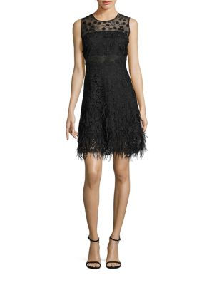 Anabelle Feather Hem Lace Dress