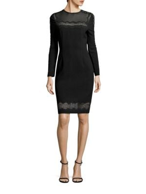 Candice Crepe Lace Trim Dress