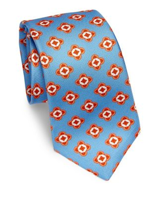 Large Geometric Floral Silk Tie