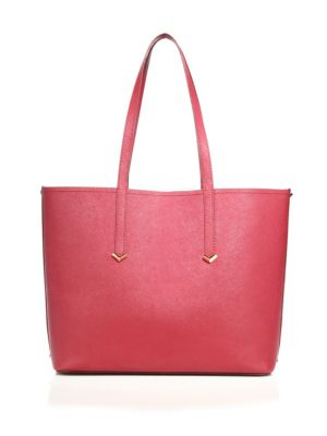 Zipper Accented Leather Tote