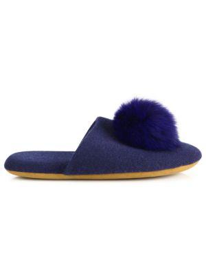 MINNIE ROSE Fox Fur Pom-Pom Slides