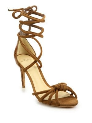 Lanna Suede & Crocodile Ankle-Wrap Sandals