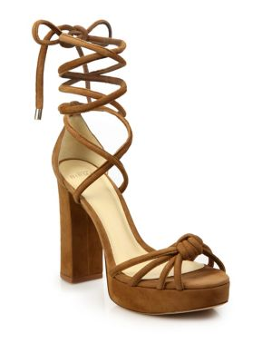 Jannele Knotted Suede Ankle-Wrap Block Heel Sandals