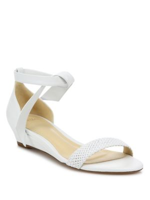 Atenah Woven Leather Demi-Wedge Sandals