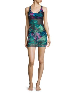 Tropical Floral Tulle Overlay Tankini Set