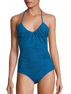 Lace One Piece Halter Swimsuit by Fuzzi Swim