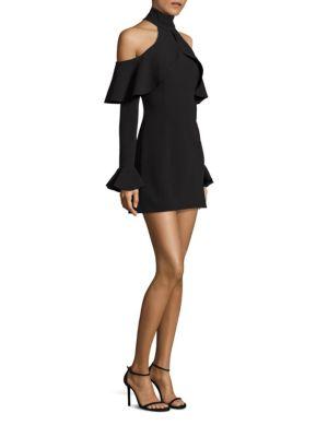 Ruffle Cold-Shoulder Choker Dress
