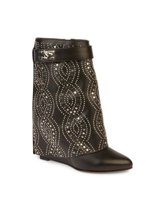 givenchy female sharklock embellished leather foldover wedge boots