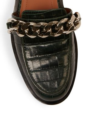 GIVENCHY Chain Croc-Embossed Leather Loafer Slides