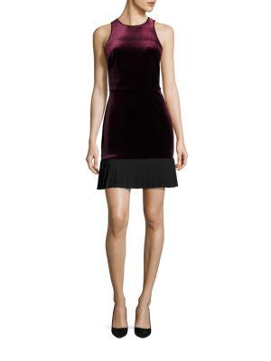 Velvet Pleated Hem Dress