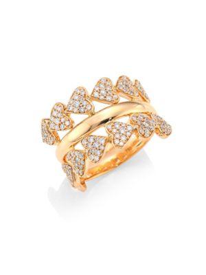 Hearts Diamond & 18K Rose Gold Ring