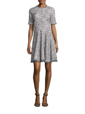 Boucle Tweed Fit-&-Flare Dress