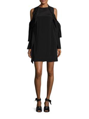 Silk Cold Shoulder Dress