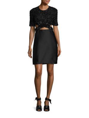 Sequin Bodice Cutout Dress