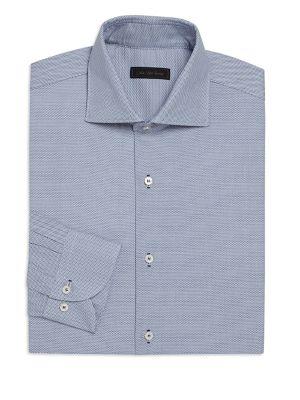 COLLECTION Bird's Eye Button Front Regular-Fit Dress Shirt