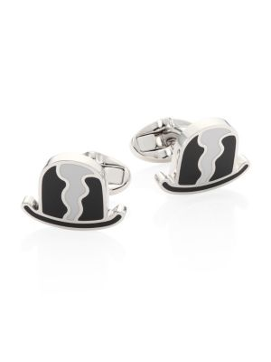 Metallic Bowler Hat Cufflinks
