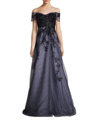 Off-The-Shoulder Embellished Gown