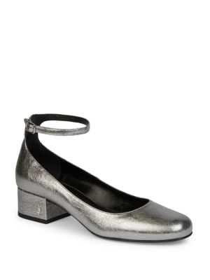 Babies Metallic Leather Ankle-Strap Pumps