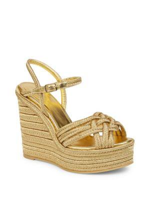 Metallic Espadrille Wedge Sandals
