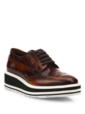 Brogue Leather Micro Platform Oxfords