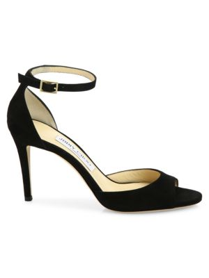Annie 85 Suede d'Orsay Ankle-Strap Sandals