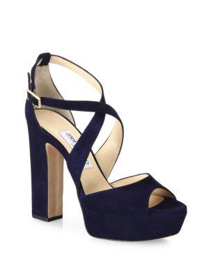 Suede Crisscross Platform Sandals