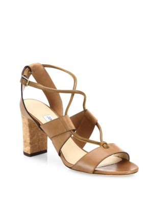 Margo 80 Cork-Heel Leather Lace-Up Sandals