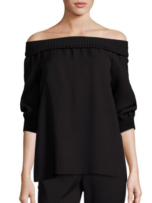 Marlo Silk Off-The-Shoulder Blouse