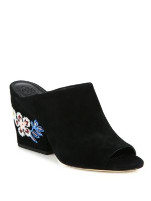 Embroidered Suede Wedge Mules