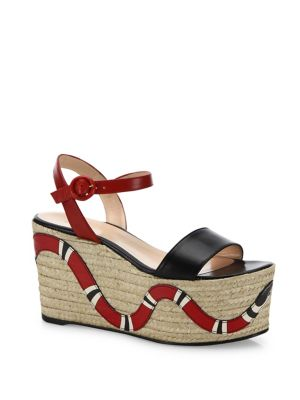 gucci female barbette snake leather espadrille platform wedge sandals