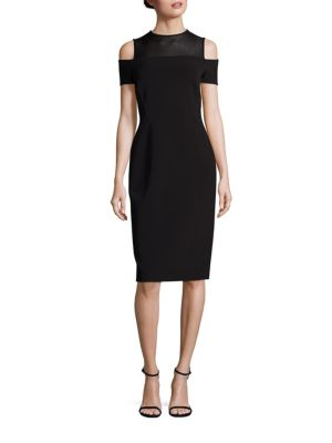 Sheer Yoke Cold-Shoulder Dress by Lafayette 148 New York