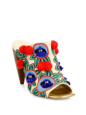 Ellis Embroidered Leather Mules
