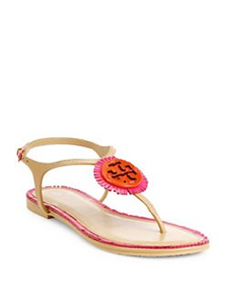 a71f010c5bb2 Tory Burch Miller Fringe Logo Leather T-Strap Sandals from Saks ...