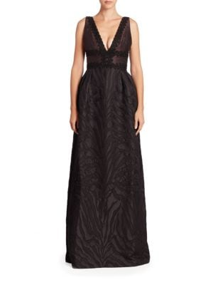 Beaded Jacquard A-Line Gown