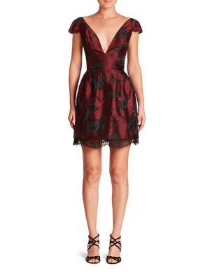 Cap Sleeve Jacquard Paisley Dress