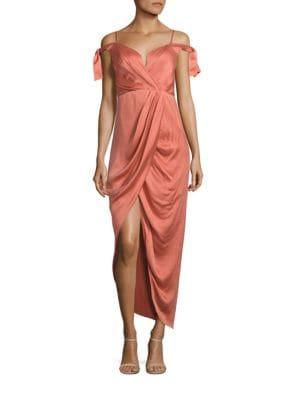 Winsome Draped Cocktail Midi Dress
