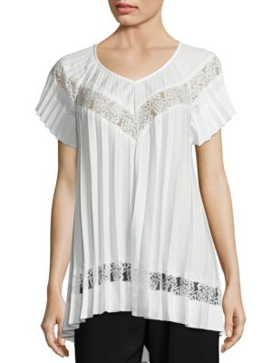 Winsome Sunray Pleated Lace Inset Top by Zimmermann