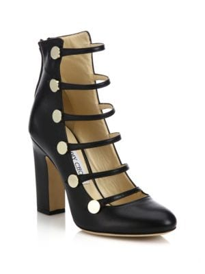 Venice 100 Strappy Leather Block-Heel Pumps