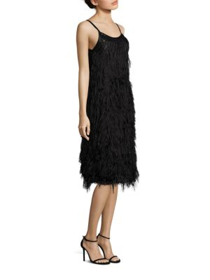 Sleeveless Feathered Dress