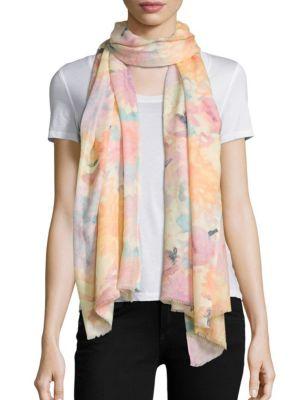 Brushstroke-Print Cashmere & Silk Scarf