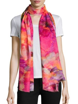 Spring Floral-Print Cashmere & Silk Scarf