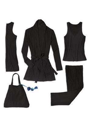 Four-Piece Wrap Robe, Tunic, Tank & Pants Travel Set