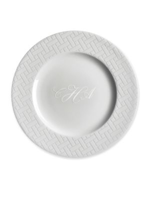 Personalized Wicker White Salad Plate