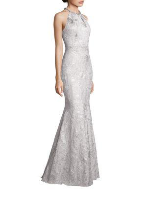 Metallic Jacquard Halter Gown