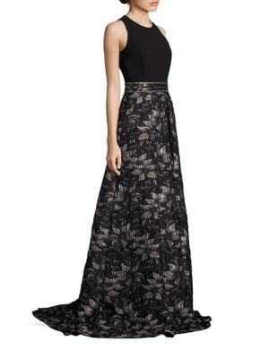 Buy Carmen Marc Valvo Beaded Floral Jacquard Gown online with Australia wide shipping