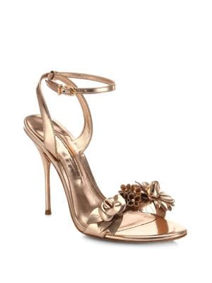 Lilico Metallic Leather Ankle-Strap Sandals