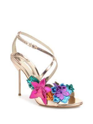 SOPHIA WEBSTER Hula Floral-Embellished Metallic Leather Crisscross Sandals