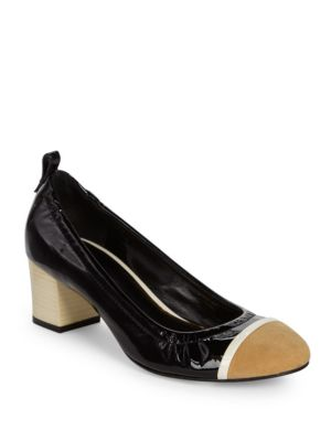 Cube-Heel Patent Leather Cap-Toe Ballerina Pumps