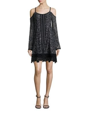 Blackjack Lace Cold-Shoulder Dress