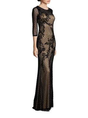 Mesh Beaded Gown